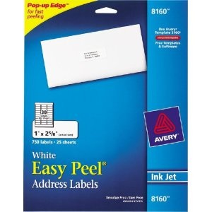 Staples has the Avery 8160 White Inkjet Address Labels with Easy Peel®, 1″ x 2-5/8″, 750/Box Free after Staples Easy Rebate. These labels are priced at ...