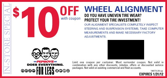 Pep Boys 10 Off A Wheel Alignment Kollel Budget