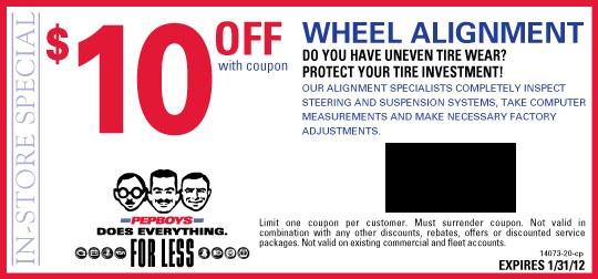 Pep Boys: $10 Off A Wheel Alignment | Kollel Budget