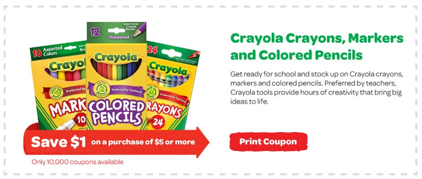 photograph relating to Crayola Coupons Printable identify Obtainable Once more Printable Coupon: $1 Off $5 Of Crayola