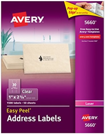 Amazon avery easy peel clear mailing labels for laser for Avery template 5660 microsoft word