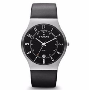 87300f2a8dc9 Get the Skagen 233XXLSLB Men s Denmark Black Leather Strap Black Dial  Quartz Date Watch for just  57.99 + Free shipping as one of today s Ebay  Daily Deals.