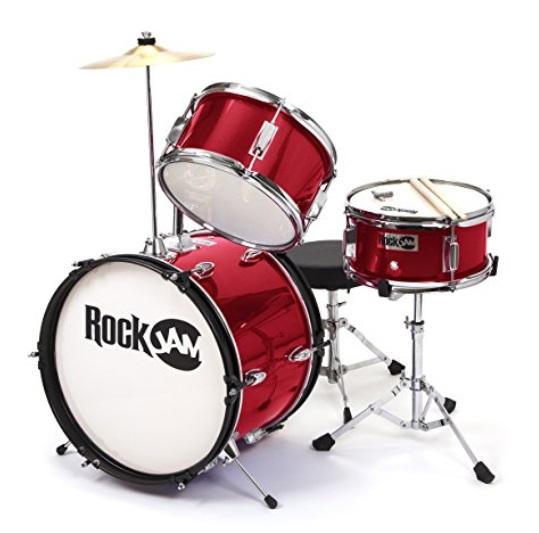 amazon prime rockjam rj103 mr 3 piece junior drum set with crash cymbal adjustable throne. Black Bedroom Furniture Sets. Home Design Ideas