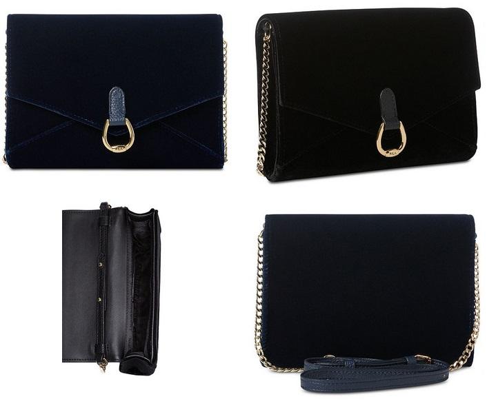fdcf108590 Lauren Ralph Lauren Bennington Velvet Envelope Crossbody Only  58.93 (Black  or Navy)!