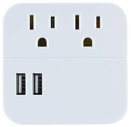 560 Joules Plug in Extender Gray//White 43436 GE Pro 5 Outlet 2 USB Fabric Wall Tap Surge Protector Side Access Designer Power Adapter